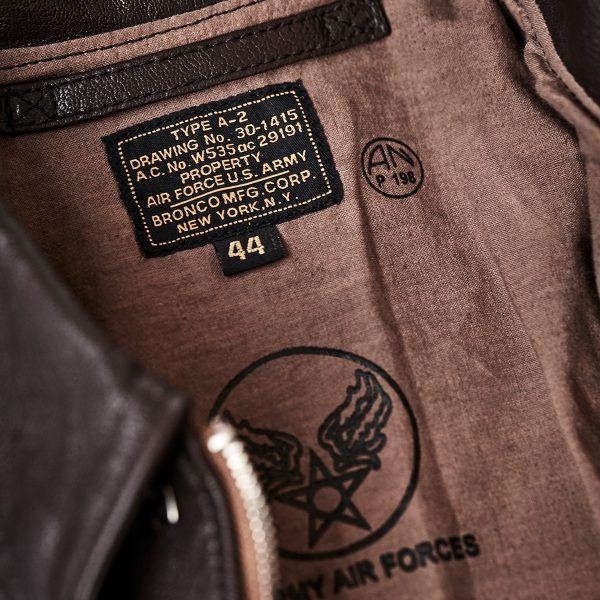 A2 bronco flight jacket label