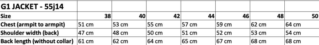 G1 jacket 55J14 size chart