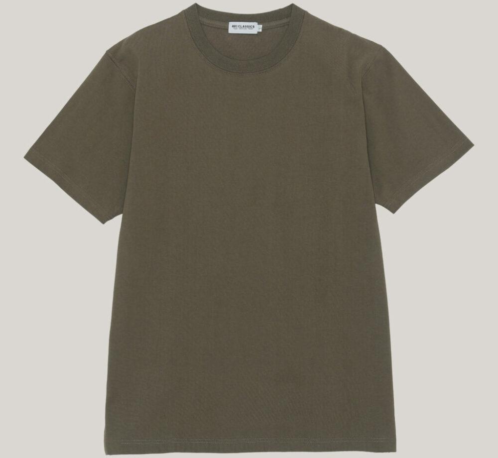 Loopwheel tshirt in Tubular knit in army green