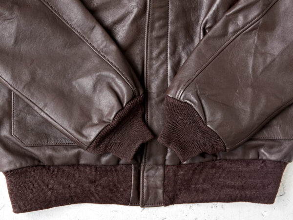 Cuffs and waistband on A2 flight jacket in horsehide leather
