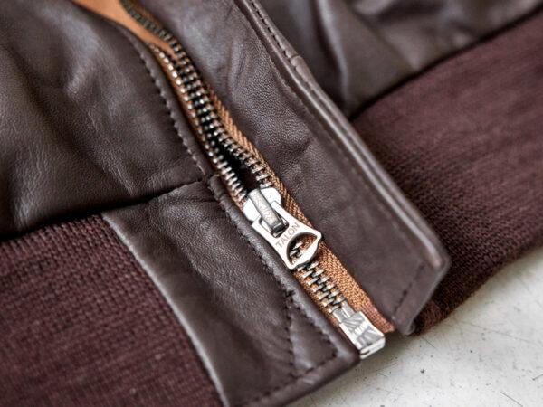 talon zipper on A2 flight jacket in horsehide leather